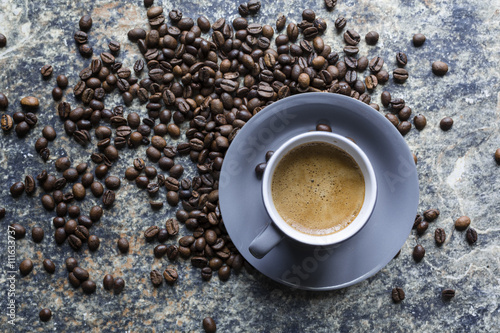 Printed kitchen splashbacks Coffee beans Tasse de Café Espresso