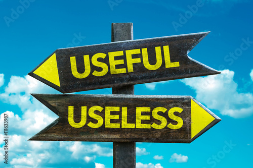 Fotografía Useful - Useless crossroad with sky background