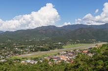 High Angle View Of Mae Hong Son City And Runway Mae Hong Son Airport  In Thailand.