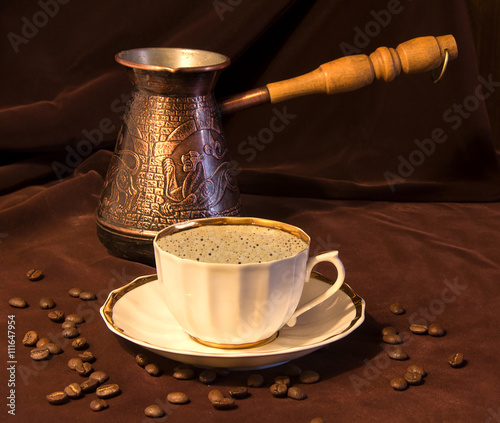 Fotografie, Obraz  Coffee grinder, cup on the table