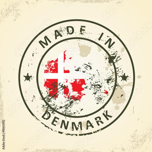 Staande foto Afrika Stamp with map flag of Denmark