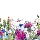 Summer watercolor seamless floral border with wild flowers