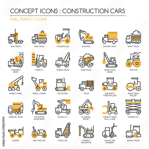 Fotografering  Construction Cars , thin line icons set , Pixel Perfect Icons