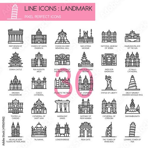 Fototapety, obrazy: Landmark, thin line icons set ,pixel perfect icon