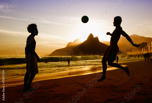 Photo  Two soccer players at beach at Rio de Janeiro