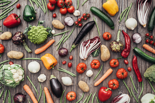 Photo sur Toile Nourriture Vegetables colorful background