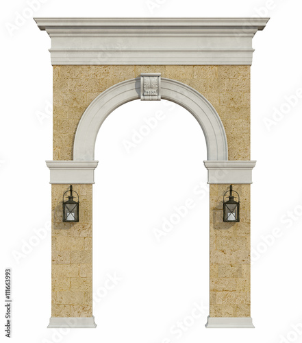 Photo  Medieval arch isolated on withe