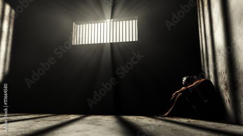 Prisoner in Bad Condition in Demolished Solitary Confinement und Fototapet