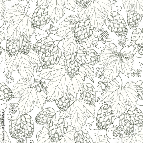 Vector seamless pattern with ornate Hops with leaves in black on the white background. Outline Hops for beer and brewery decor. Hops background in contour style for summer design.