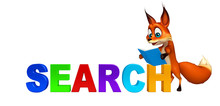 Fun Fox Cartoon Character With Search Sign