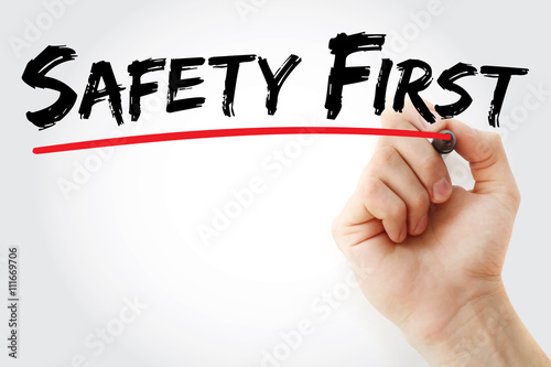 Fotografía  Hand writing Safety First with marker, business concept