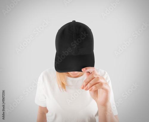 Valokuva  Blank black baseball cap mockup template, wear on women head