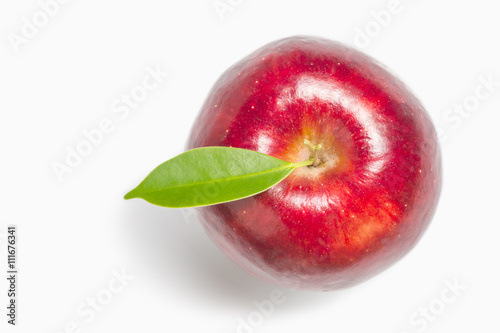 Valokuva  Apple top view, Red apple, white background