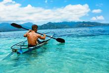 Summer Travel Kayaking. Man Ca...