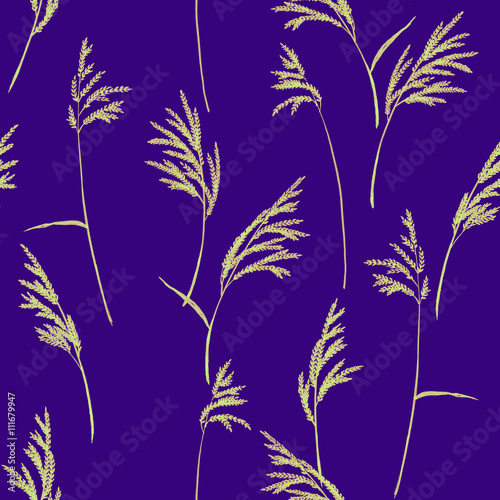 Abstract floral pattern  Grass panicles scattered free  Hand painted
