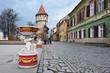 Downtown pedestrian street with a child statue near castle, in Sibiu with dark sky, Romania
