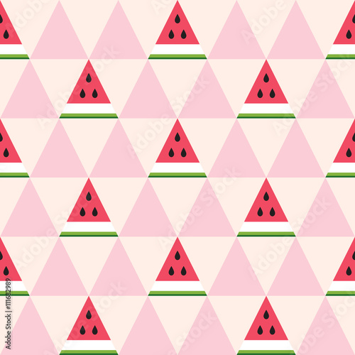 Cotton fabric Seamless pattern of watermelon slices in the geometric style. Fresh summer fruit background. Vector illustration.