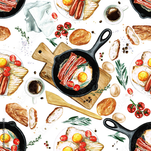 Poster Watercolor Illustrations Watercolor Seamless pattern - Breakfast