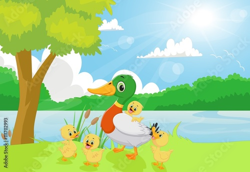 Canvas Prints River, lake Cartoon duck family on the riverbank