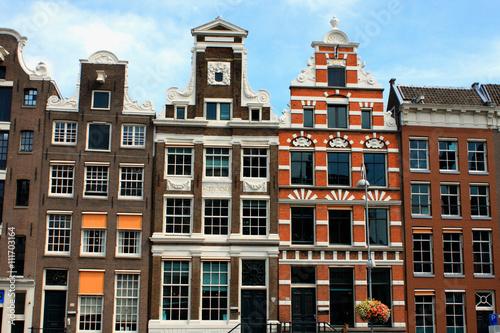 Photo  landmark of sloping houses in Amsterdam city.