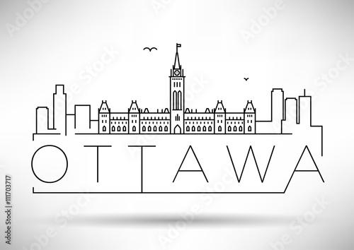 Minimal Ottawa City Linear Skyline with Typographic Design