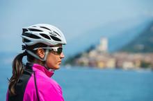 Bike Girl Portrait - Woman With Bike Helmet