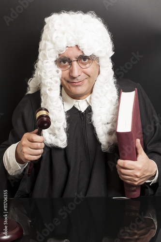 Fotografija  Portrait Of Male Lawyer Holding Judge Gavel And Book