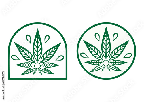 Cannabis logo. Hemp is a simple monochrome icons. Wallpaper Mural