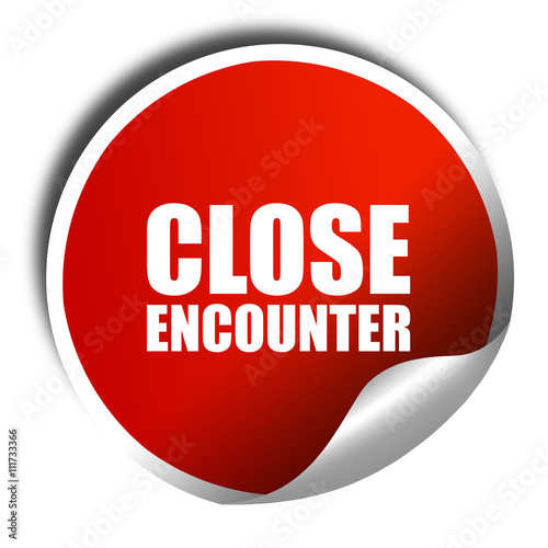 Photo  close encounter, 3D rendering, a red shiny sticker