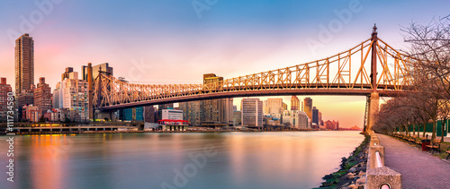 (Ed Koch) Queensboro bridge panorama at sunset, as viewed from Roosevelt Island