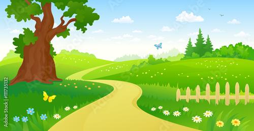 Papiers peints Chateau Summer forest path