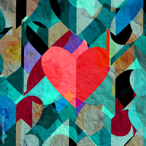 Fototapety, obrazy: Abstract vintage watercolor heart
