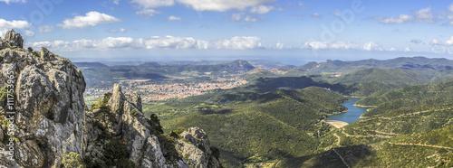 Fotografie, Obraz  panoramic view of Iglesias from punta sa Martinedda, Marganai, Sardinia, Italy
