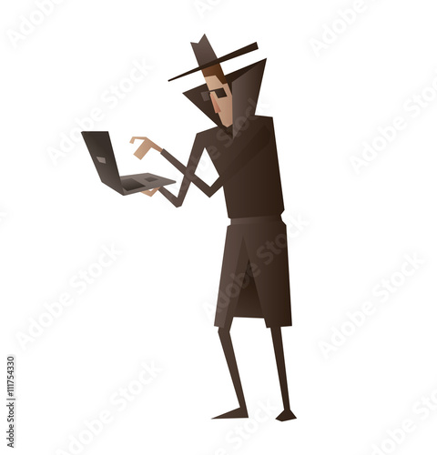 Fotografía  Vector cartoon image of a spy in a black coat, a hat and sunglasses standing with black laptop in his hands on a white background