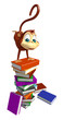 fun Monkey cartoon character with book