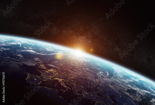Fotografering  View of the planet Earth in space
