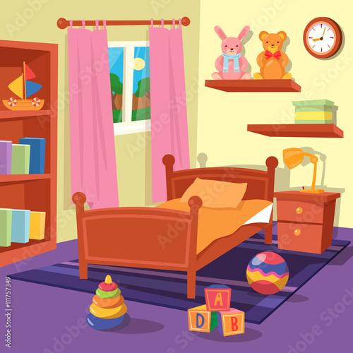 Spoed Foto op Canvas Violet Children Bedroom Interior. Children Room. Vector illustration