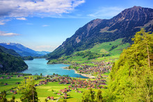 Alpine Lake And Mountain Landscape In Central Switzerland