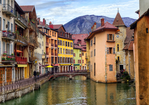 Medieval old town and Thiou river, Annecy, Savoy, France Canvas Print