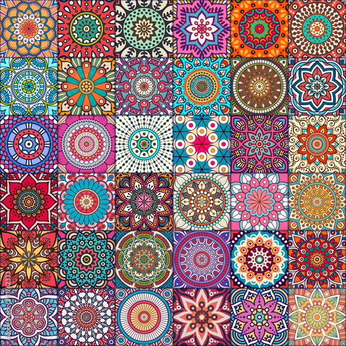 Ethnic floral seamless pattern Canvas Print
