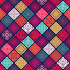 Panel Szklany Boho Ethnic floral seamless pattern