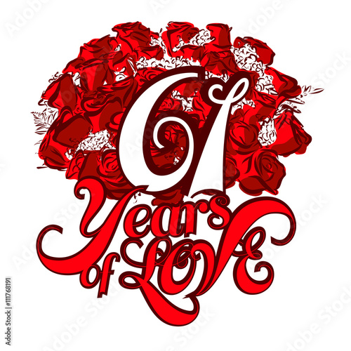 Poster  61 Years of Love with nice bouquet of roses