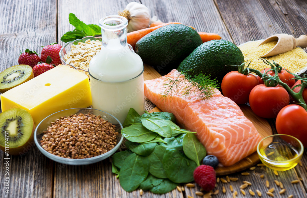 Fototapety, obrazy: Selection of healthy food on rustic wooden background