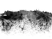 Edinburgh Skyline In Black Wat...
