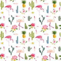 FototapetaFlamingo Bird Background. Flamingo Feather Background. Retro Seamless Pattern