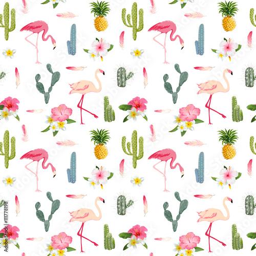 desen-ptaki-flamingi-kaktusy-anansy-kwiaty-retro-wzor