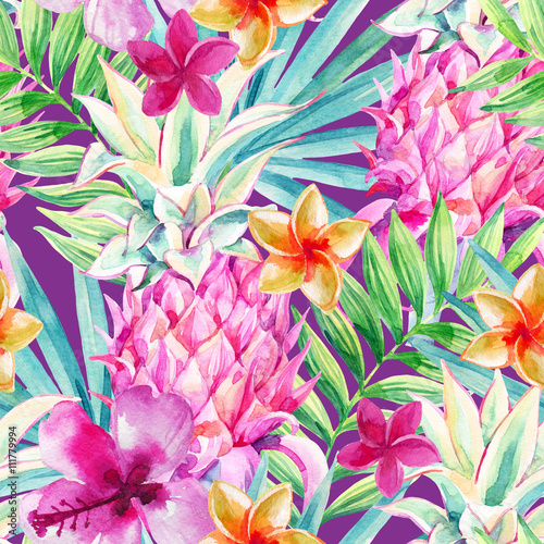 Watercolor pineapple fruit seamless pattern