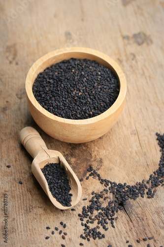 Dry black sesame seeds