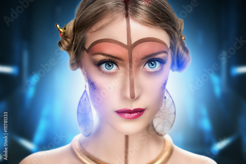 Photo  young beautiful girl, model, woman, princess, character, alien