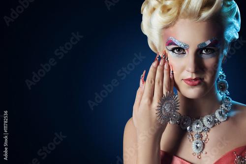 Fototapeta Beautiful woman long nails make up full fashion look